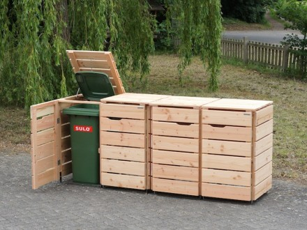 4er m lltonnenbox 120 liter heimisches holz made in germany. Black Bedroom Furniture Sets. Home Design Ideas