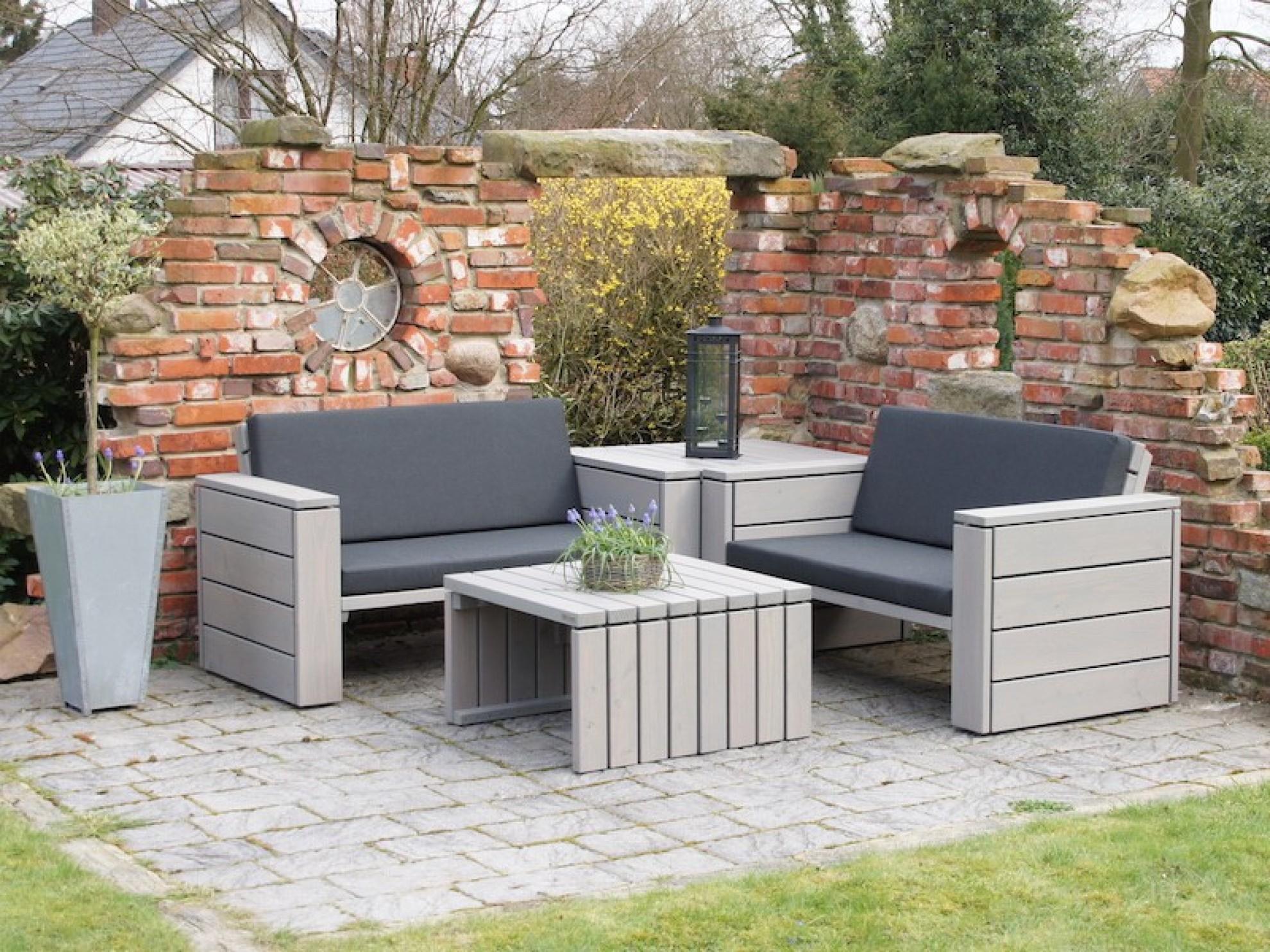 Loungemöbel holz  Loungemöbel Set 8 - Zeitlose Lounge Ecke aus heimischem Holz